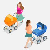 Moeder die een babywandelwagen duwen tegen achtergrond Isometrische vlakke 3d vectorillustratie - moeder met binnen baby Stock Foto's