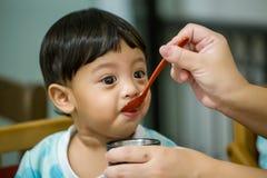 Moeder die haar baby met lepel voeden Moeder die gezond voedsel thuis geven aan haar aanbiddelijk kind stock foto's