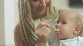 Moeder die haar babyzoon voedt Stock Afbeeldingen