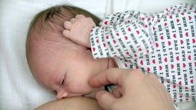 Moeder die haar pasgeboren baby de borst geven stock footage