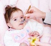 Moeder die haar puree van de babyappel voeden Royalty-vrije Stock Afbeeldingen