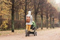Moeder die in park met een wandelwagen lopen Royalty-vrije Stock Foto's