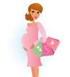 Moeder die - zwangere vrouw met het winkelen zak winkelt Royalty-vrije Stock Afbeeldingen