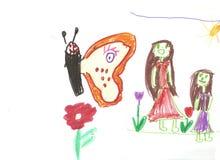 Moeder, dochter en een vlinder Royalty-vrije Stock Fotografie
