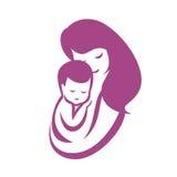 Moeder en baby gestileerd vectorsymbool Stock Fotografie