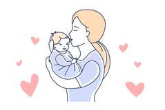 Moeder en Baby Moederschapliefde Mamma die een vectorillustratie van de kindhand getrokken stijl kussen royalty-vrije illustratie