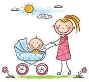 Moeder en baby op een gang vector illustratie