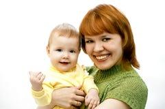 Moeder en baby op wit Stock Afbeelding