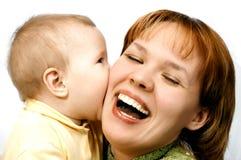 Moeder en baby op wit Royalty-vrije Stock Foto's