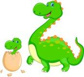 Moeder en babydinosaurus het uitbroeden Royalty-vrije Stock Afbeelding