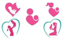 Moeder en babypictogrammen Royalty-vrije Stock Fotografie