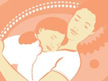 Moeder en dochter aan slaap Stock Fotografie