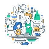 Moeder en dochter bij de keuken - de samenstelling van het lijnontwerp Royalty-vrije Stock Foto