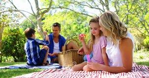 Moeder en dochter blazende bel met bellentoverstokje bij picknick in park 4k stock video