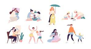 Moeder en dochter die dagelijkse activiteiten uitvoeren samen - lezingsboek, plantend boom, lopend onder regen, het spelen vector illustratie