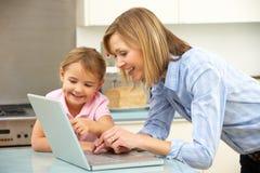 Moeder en dochter die laptop met behulp van stock afbeelding