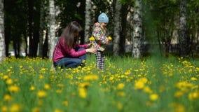 Moeder en Dochter die Paardebloemenboeket verzamelen stock video