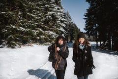 Moeder en dochter die pret in de sneeuw hebben royalty-vrije stock fotografie