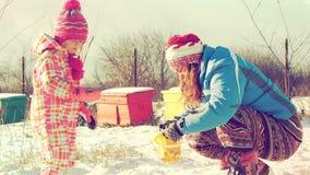 Moeder en dochter het spelen in de sneeuwvideo stock video