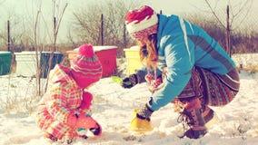 Moeder en dochter het spelen in de sneeuwvideo stock footage