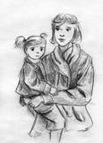 Moeder en dochterpotloodschets Royalty-vrije Stock Foto
