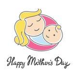 Moeder en haar baby De gelukkige Dag van Moeders Abstract krabbelembleem Royalty-vrije Stock Afbeelding
