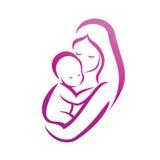 Moeder en haar babysilhouet Royalty-vrije Stock Afbeelding