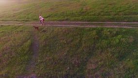 Moeder en haar dochter met hond Duitse Kortharige Wijzer in openlucht stock footage