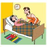 Moeder en haar zieke dochter stock foto's