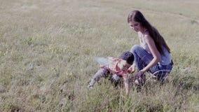Moeder en jonge de vangstvlinders van de zoonsgang stock video