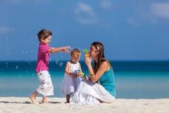 Moeder en jonge geitjes op vakantie royalty-vrije stock afbeeldingen