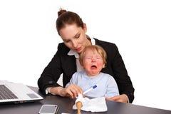 Moeder en kind bij beeld 9 van de het werkreeks Royalty-vrije Stock Foto