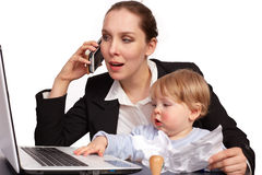 Moeder en kind bij het werkreeks image12 Stock Foto's