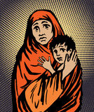 Moeder en kind de godsdienst van de vluchtelingsimmigratie en sociale illustratie royalty-vrije illustratie