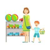 Moeder en Kind die voor Speelgoed, Winkelcomplex en Warenhuissectieillustratie winkelen Royalty-vrije Stock Afbeeldingen