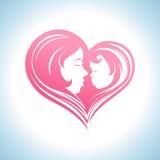Moeder en kind hart-vormig silhouetsymbool vector illustratie