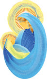 Moeder en kind, heilige maagdelijke Mary met heilige famil van babyjesus stock illustratie