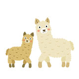 Moeder en kind het karakter van het alpacasbeeldverhaal Stock Afbeeldingen