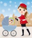 Moeder en kinderwagen Stock Foto's