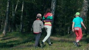 Moeder en twee kinderen die in het hout tijdens de zomer langzaam-mo lopen stock video