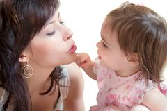 Moeder en weinig dochter Stock Foto