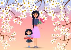 Moeder en Weinig Dochter met Bloemen en Gift royalty-vrije illustratie
