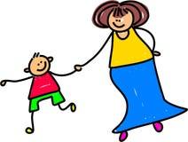 Moeder en zoon vector illustratie