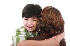 Moeder en zoon op Moederdag. Stock Foto