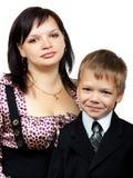Moeder en zoon samen Stock Afbeelding