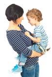 Moeder en zoon van aangezicht tot aangezicht Royalty-vrije Stock Foto's