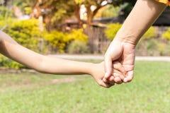 Moeder en zoonsholdingshand stock foto's