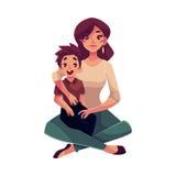 Moeder en zoonszitting op de vloer die elkaar koesteren royalty-vrije illustratie