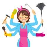 Moeder het Multitasking Werken royalty-vrije illustratie