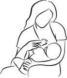 Moeder het voeden borst Stock Foto